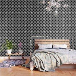 Large Black Geometric Circles Interlocking on White Background Wallpaper