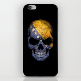 Dark Skull with Flag of Bosnia and Herzegovina iPhone Skin