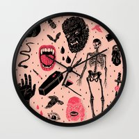 black Wall Clocks featuring Whole Lotta Horror by Josh Ln
