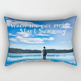 Crystal Blue Lake Pier and Person Swimming Rectangular Pillow