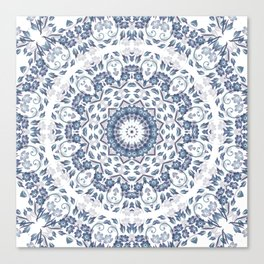 Grayish Blue White Flowers Mandala Canvas Print