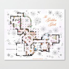 The Golden Girls House floorplan v.1 Canvas Print