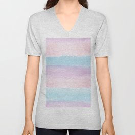 Modern blush pink teal color block watercolor brushstrokes stripes Unisex V-Neck