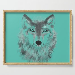 Wolf Face - Turquoise Serving Tray