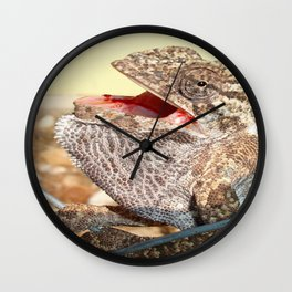 A Chameleon With Open Mouth Wall Clock