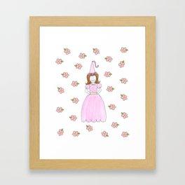 Pink Princess Brunette Framed Art Print