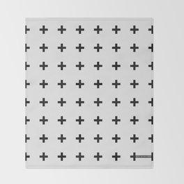 Black Plus on White /// Black n' White Series Throw Blanket
