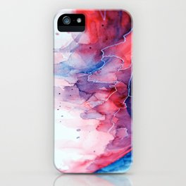 Watercolor magenta & cyan, abstract texture iPhone Case