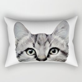 Cat, American Short hair, illustration original painting print Rectangular Pillow