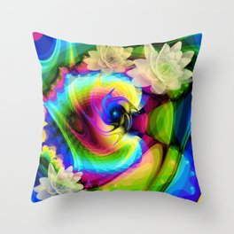 Floating Waterlilies in an Abstract Throw Pillow