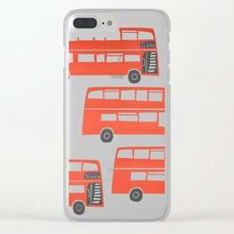 London Double Decker Red Bus Clear iPhone Case