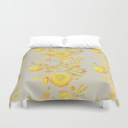 Granada Floral in Yellow on grey Duvet Cover