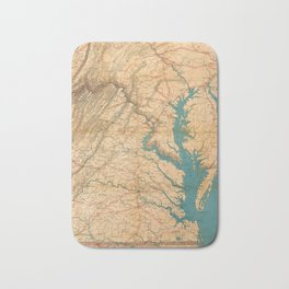 Vintage Map of Virginia and The Chesapeake Bay (1862) Bath Mat