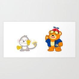 Nano Bear & Junior Monkey mug shot Art Print