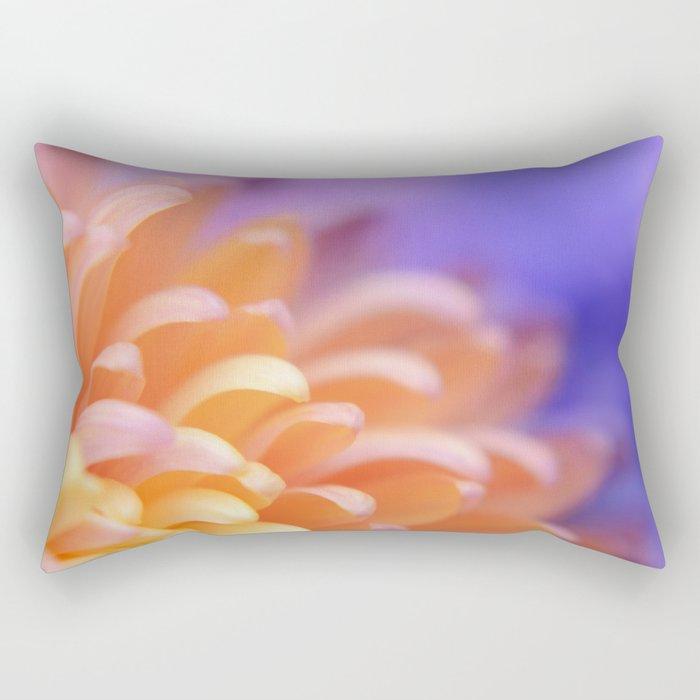 Flower Sunrise | cute pastel flower, peach flowers, orange floral pattern, pretty petals, macro Rectangular Pillow