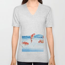 Happy koi fish- fishes sea water lake Unisex V-Neck