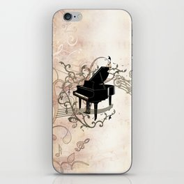 Music, piano with key notes and clef iPhone Skin