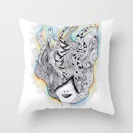 365 cabelos - Being creative Throw Pillow