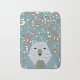 Winter pattern with baby bear Bath Mat