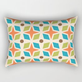 Mid Century Modern Abstract Star Dot Pattern 441 Orange Brown Turquoise Chartreuse Rectangular Pillow