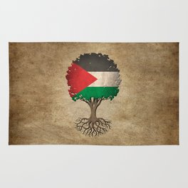 Vintage Tree of Life with Flag of Palestine Rug