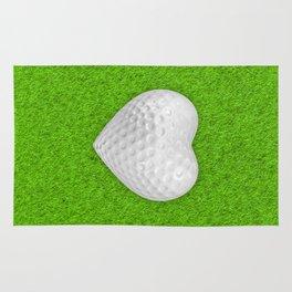 Golf ball heart / 3D render of heart shaped golf ball Rug