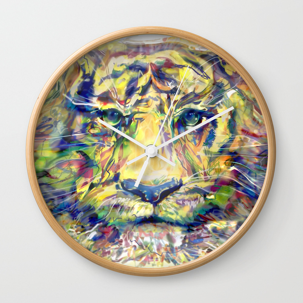 Blazing Tiger Wall Clock by Madeleinebutcher CLK8816188
