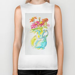 Zinnia Bright Bouquet Water Pitcher watercolor by CheyAnne Sexton Biker Tank