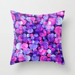 Ultra violet watercolor boken circles Throw Pillow