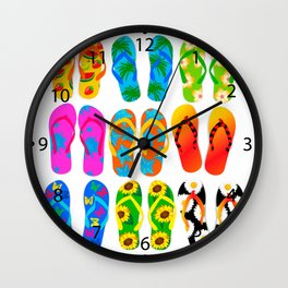 Sandals Colorful Fun Beach Theme Summer Wall Clock