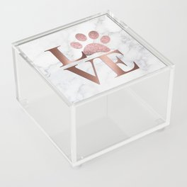 Love is a Four Letter Word - Rose Gold and Marble Acrylic Box