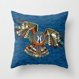 night owl blue Throw Pillow