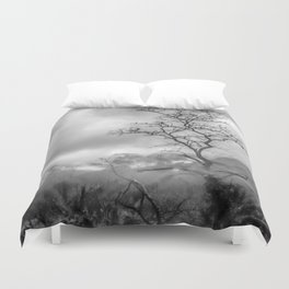 Mist in mountains Duvet Cover