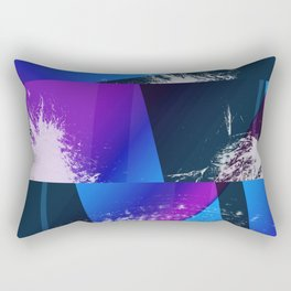 Purple and Cyan Abstract Glitch Collage Rectangular Pillow