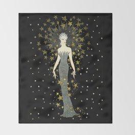 """Art Deco Sepia Illustration """"Star Studded Glamor"""" Throw Blanket"""