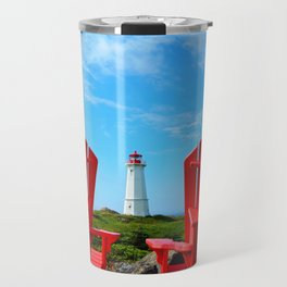 Lighthouse and chairs in Red White and Blue Travel Mug