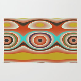 Oval Circles and Curves in Bright Aqua, Gold, Orange, Purple, and Green Rug