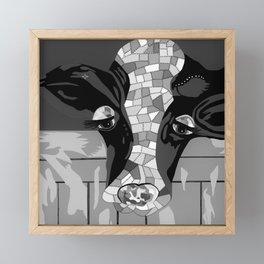 Gray Patchwork Cow Framed Mini Art Print