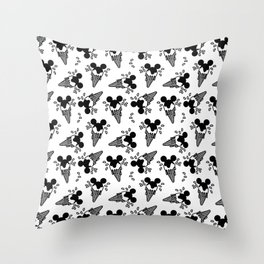 B&W Mickey Icecream Splash Pattern Throw Pillow