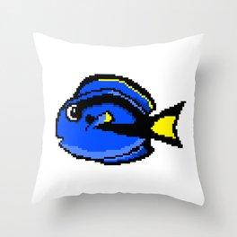 8-Bit Blue Tang Pixel Art Tropical Fish Throw Pillow