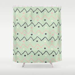 Hand Made Pattern Green Black Shower Curtain
