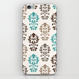 Heart Damask Art I Browns Teal Cream iPhone Skin