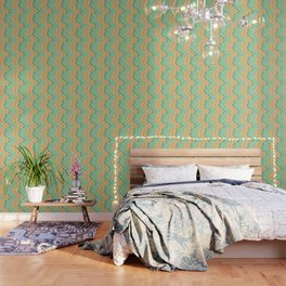 Emerald and salmon pattern Wallpaper
