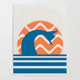 Hang Loose Wave // Sun Surfer Shaka Beach Retro Graphic Design Horizontal Daze Waves Poster