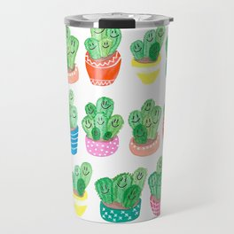 Cacti in fancy pots with smily faces. Travel Mug