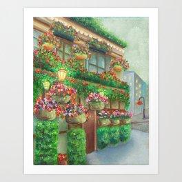 Travel Garden Pub Night Art Print