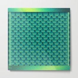 Green Dragon Scales Metal Print