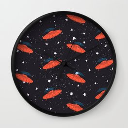Hand drawn pattern UFO. Among the stars Wall Clock