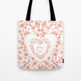 Modern coral pink watercolor valentine's hearts floral Tote Bag