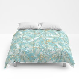 Golden Peacock Feather Pattern 04 Comforters